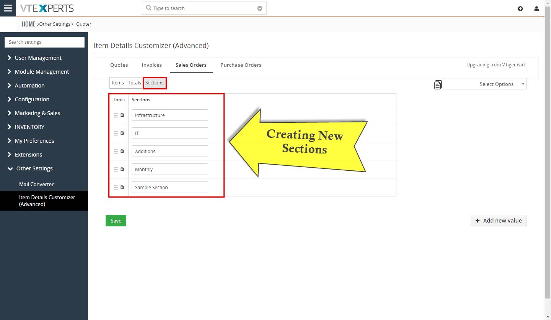 VTiger Item Details Customizer - sections2