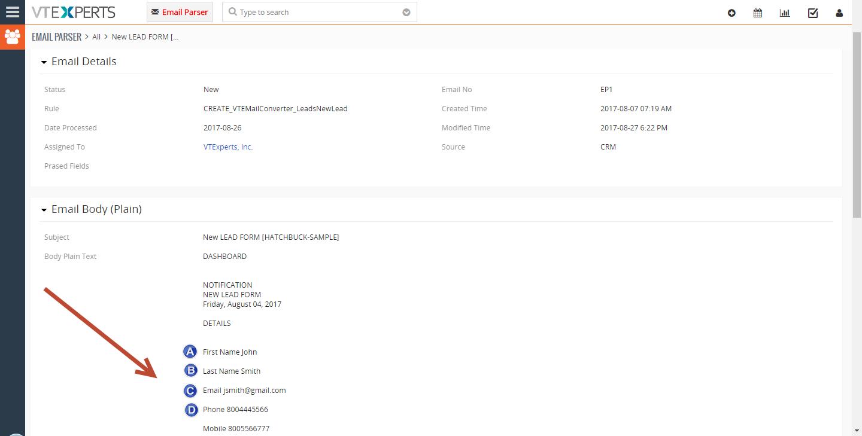 VTiger Email Parser Guide12png