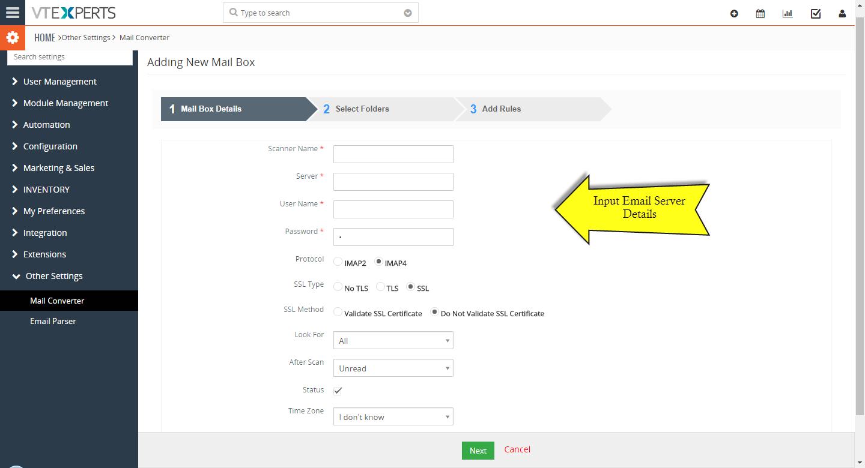 VTiger Email Parser Guide3