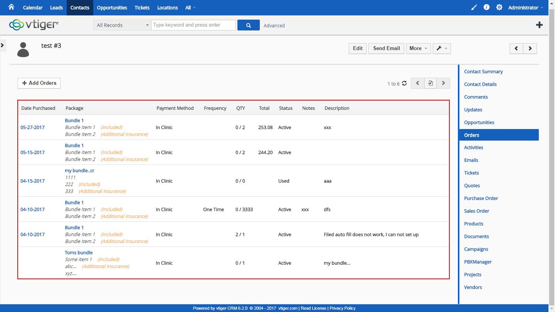 VTiger 6 Customization -integration with emr and custom ordering module