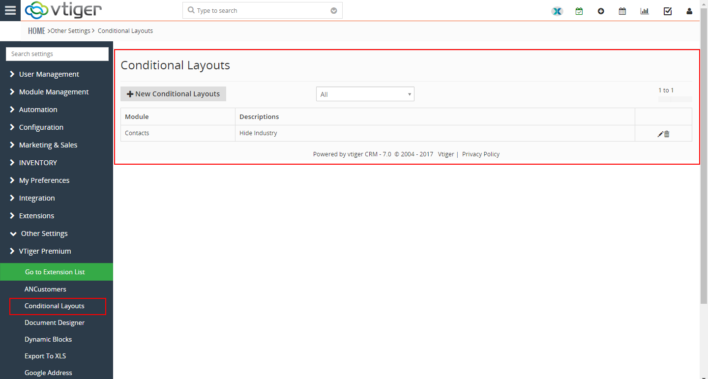VTiger Conditional Layouts - hide fields1