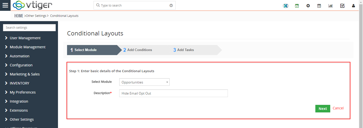 VTiger Conditional Layouts - hide fields2
