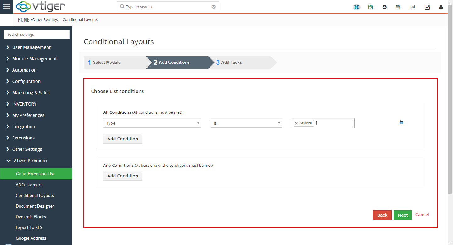 VTiger Conditional Layouts - hide fields3