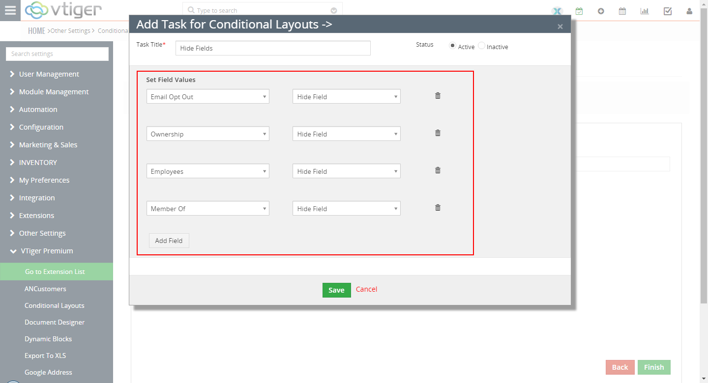 VTiger Conditional Layouts - hide fields5