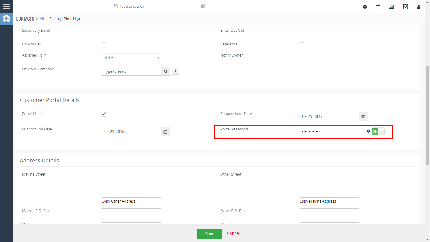 VTiger 7 Customer Portal Customization - Set Portal Password