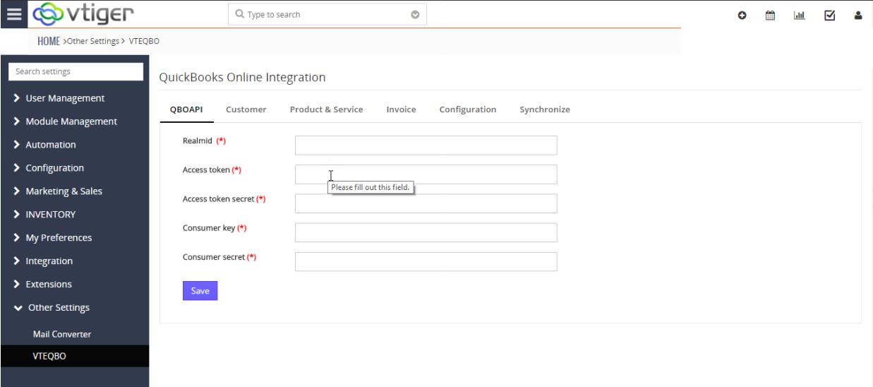 VTiger & Quickbooks Online Integration - API Configuration