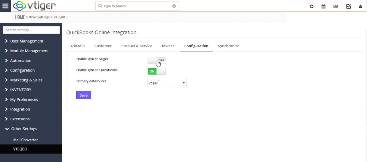 VTiger & Quickbooks Online Integration - Configuration