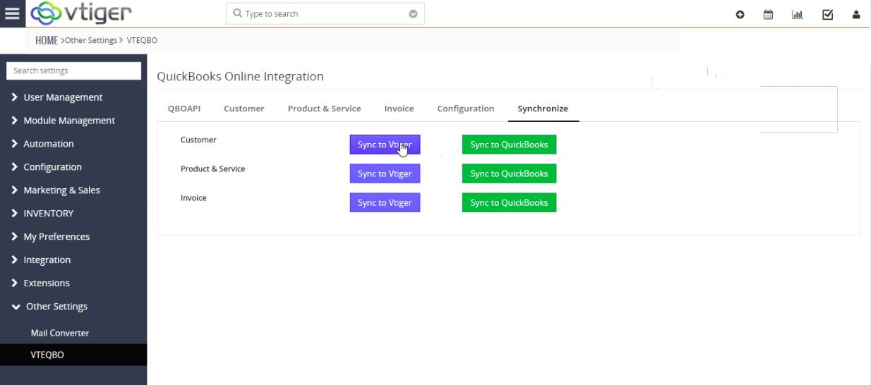 VTiger & Quickbooks Online Integration - Synchronize