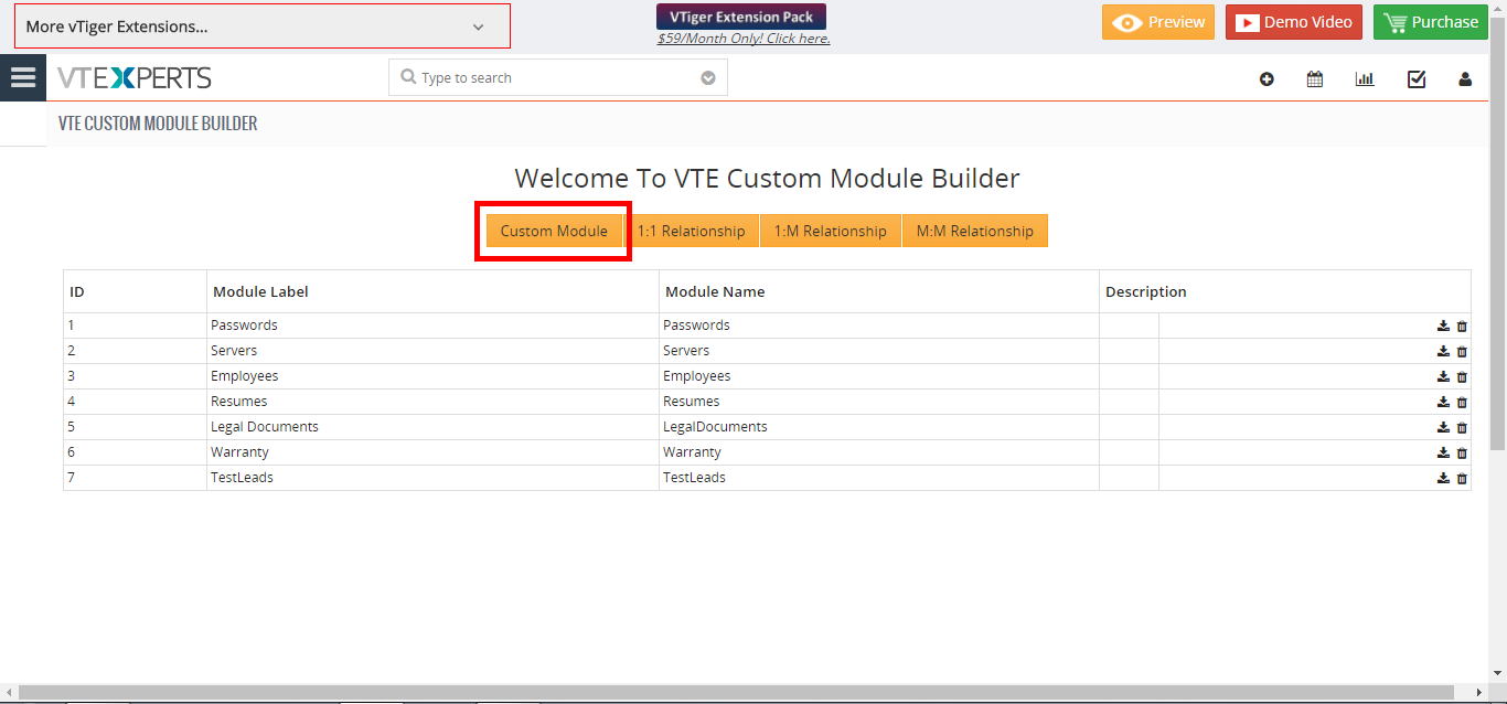 how to create custom module in VTiger 7 two