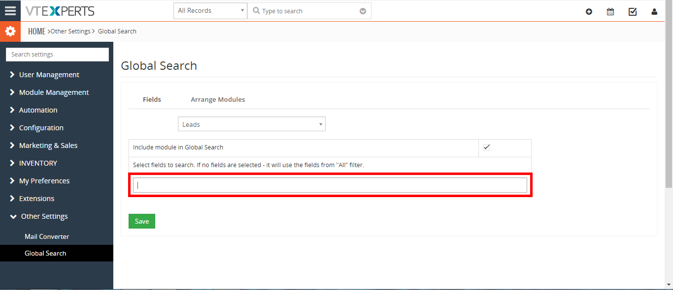 how to include phone, email (or any other field) in VTiger search 3