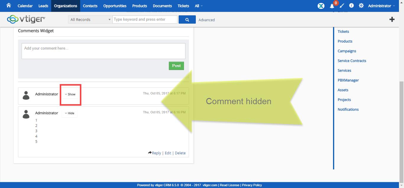 vtiger-6-extension-pack-premium-summary-widget-show-hide-comment-hidden