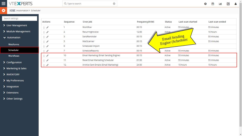 VTiger 7 Email Marketing Campaigns - scheduler