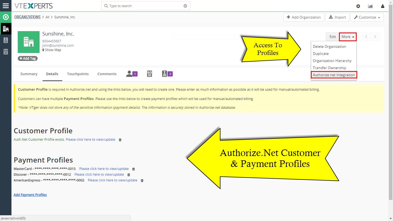 VTiger Authorize.Net Integration - Access to profiles