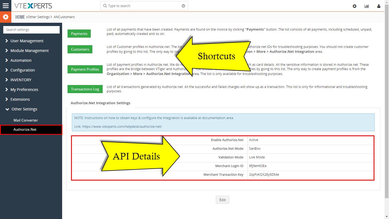 VTiger Authorize.Net Integration - Configuration
