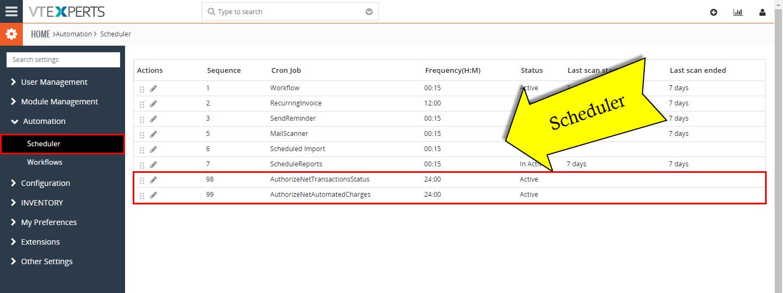 VTiger Authorize.Net Integration - Scheduler