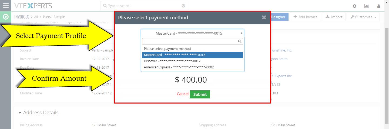 VTiger Authorize.Net Integration - charge popup2