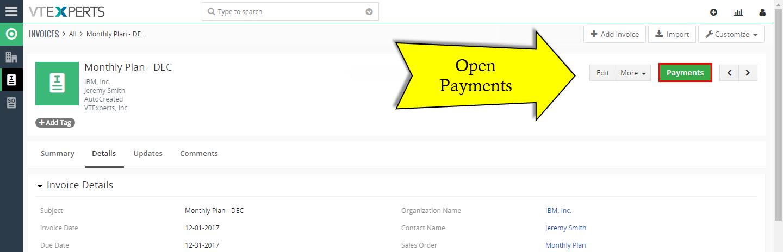 VTiger Authorize.Net Integration - payments button