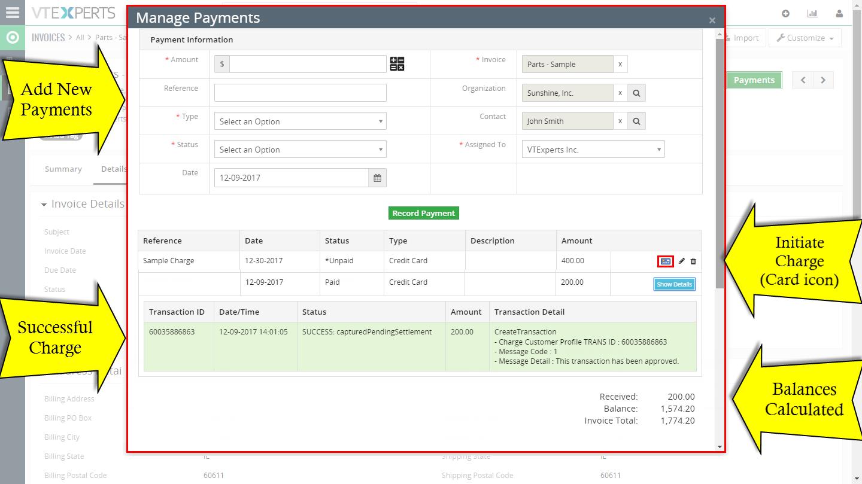 VTiger Authorize.Net Integration - payments