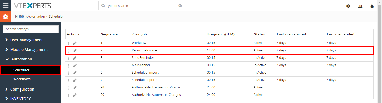 VTiger Authorize.Net Integration - recurring invoice schduler