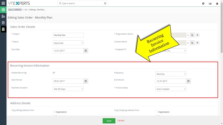 VTiger Authorize.Net Integration - recurring invoice