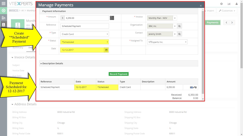 VTiger Authorize.Net Integration - scheduled payments