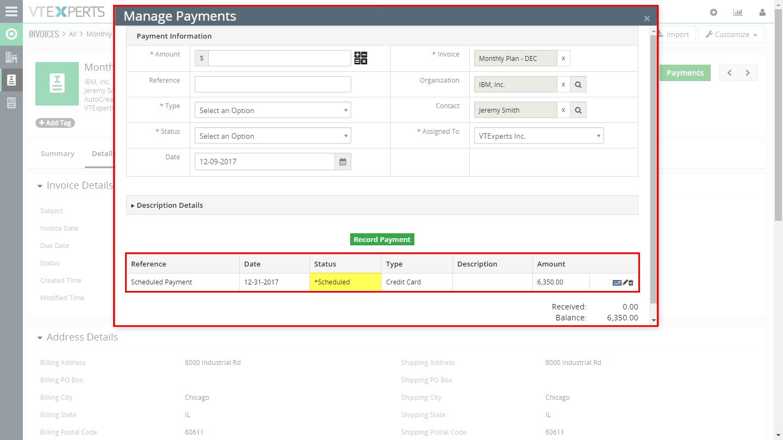 VTiger Authorize.Net Integration - scheduledug
