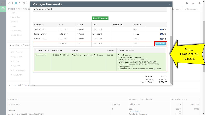 VTiger Authorize.Net Integration -view trsnaction details