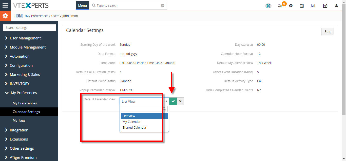 change default landing page for calendar to list view 3