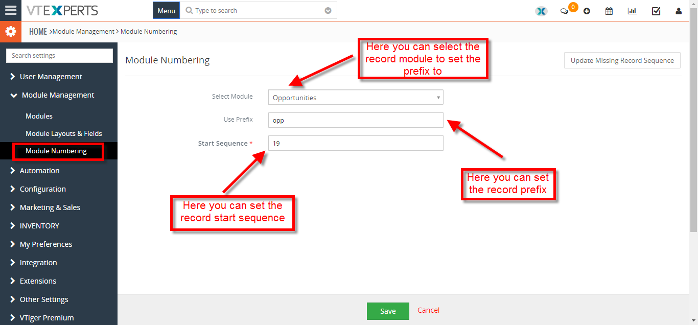 change record numbering sequence or prefix 2
