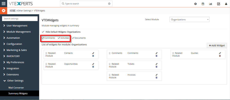 hide existing widgets (Documents, Activities, Updates) on summary view 2
