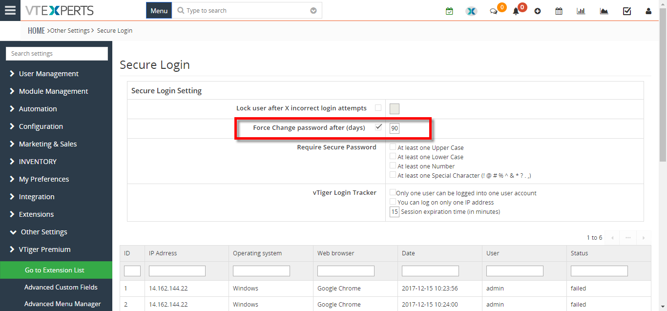 how to enforce require users in VTiger to change password every 90 days