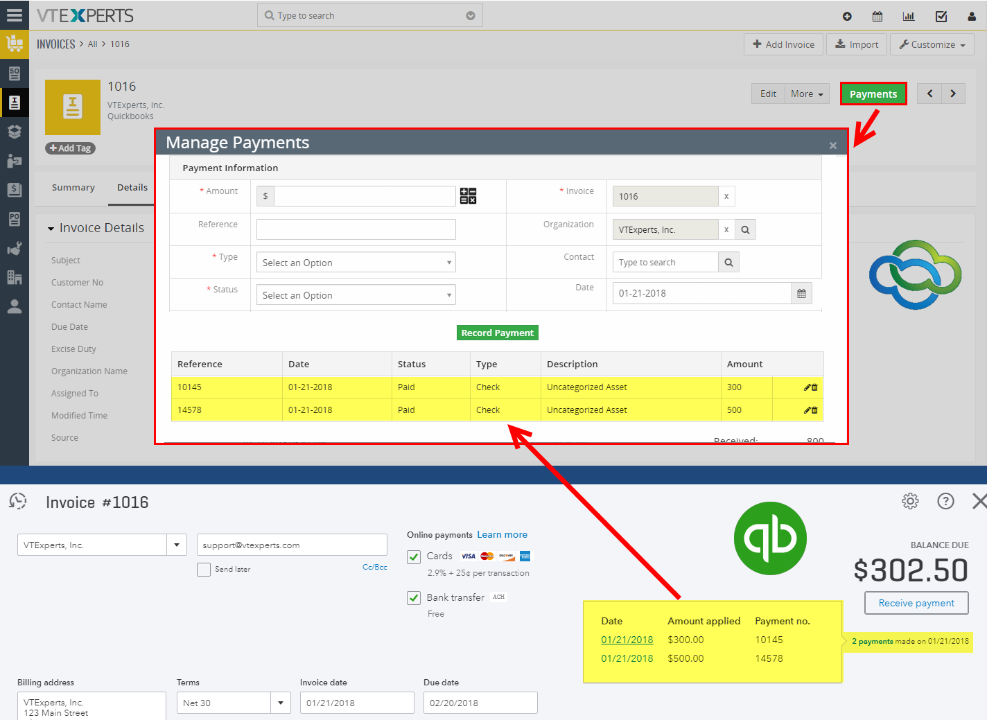 QuickBooks Online Integration for VTiger 7 - Payments
