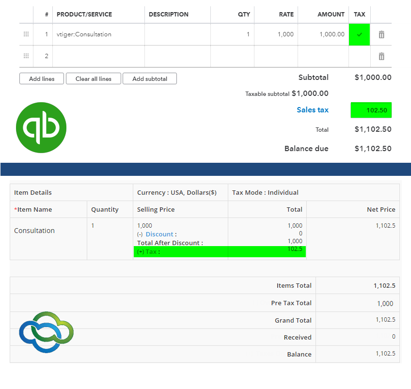 QuickBooks Online Integration for VTiger 7 - taxes3