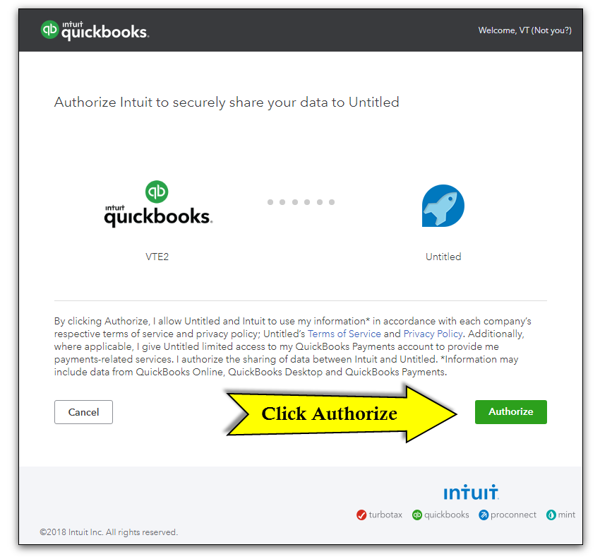Quickbooks API Configuration - Vtiger - authorize