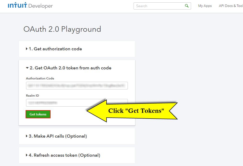 Quickbooks API Configuration - Vtiger - get tokens