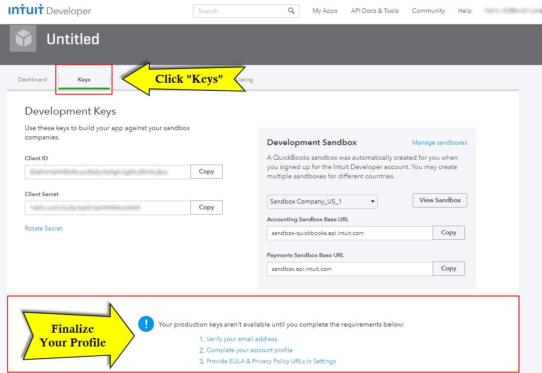 Quickbooks API Configuration - Vtiger - keys