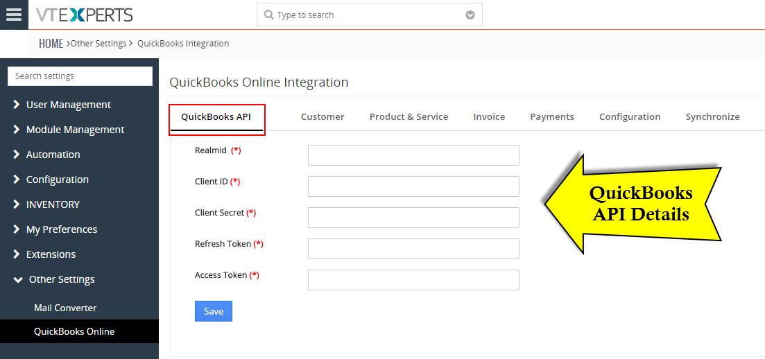 Quickbooks API Configuration - Vtiger