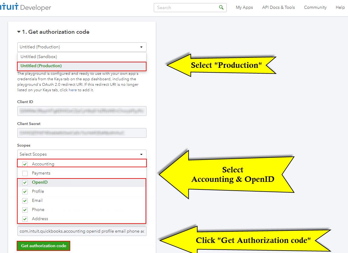 Quickbooks API Configuration - auth code