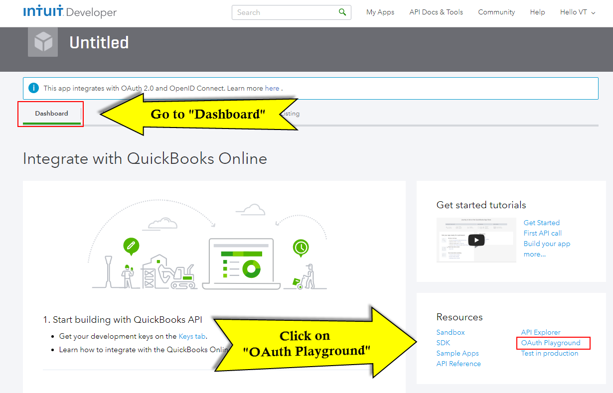 Quickbooks API Configuration - playground