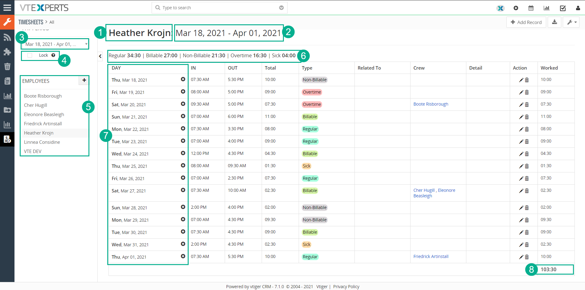 User interface of timesheets