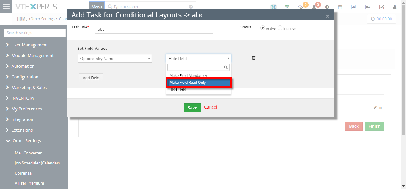 make fields read only not editable based on other field conditions 4