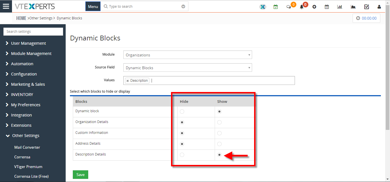 show or hide field blocks based on certain conditions fields in VTiger 5