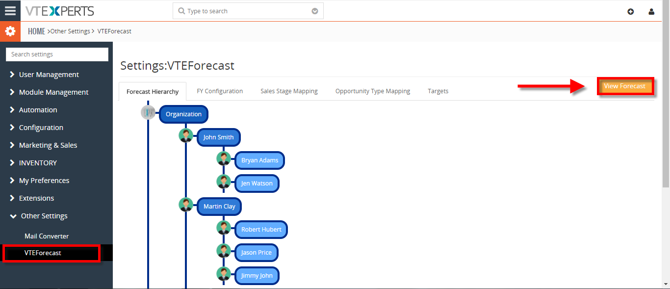 view your sales opportunity forecast by sales rep in vtiger 1