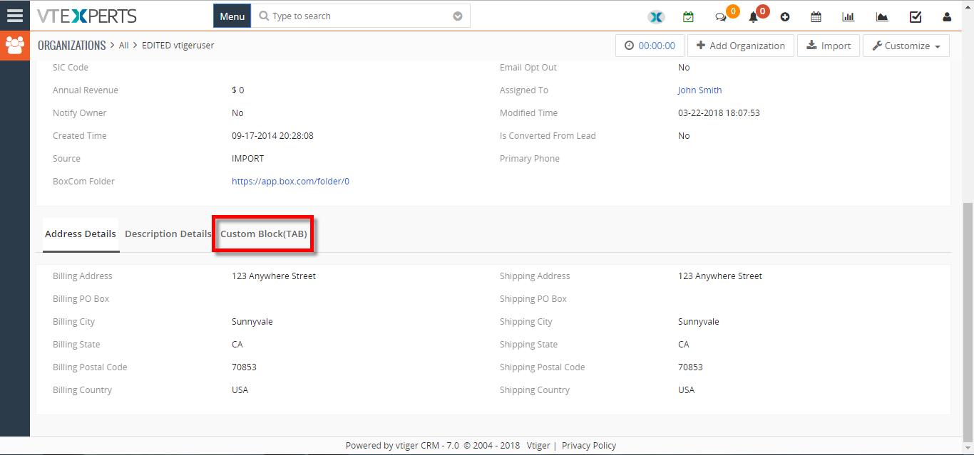Create Custom Tabs In VTiger 7 - VTiger Experts