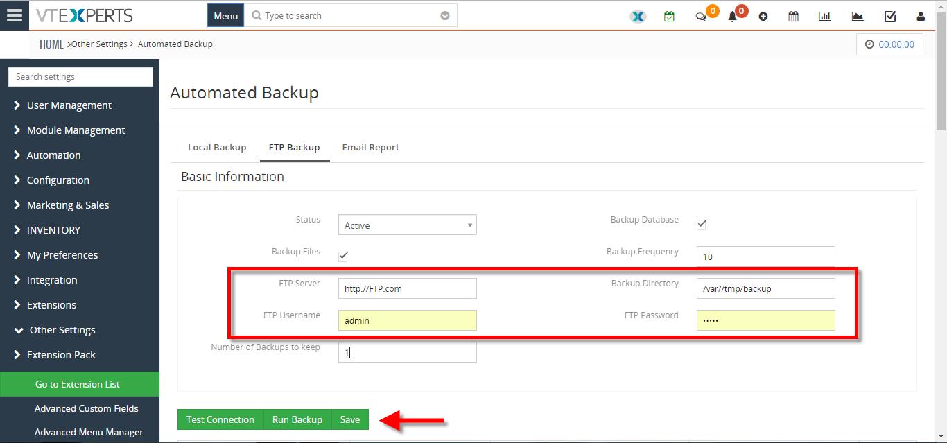 Backup VTiger Database To A FTP Server - VTiger Experts