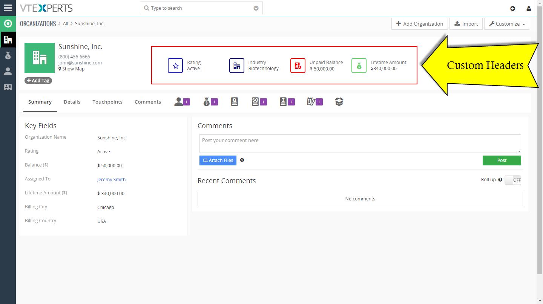 VTiger Custom header Extension - Organization