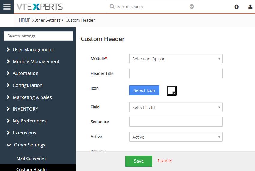 custom header extension for vtiger add new