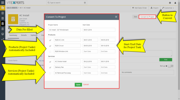 Convert Quote Invoice Order to Project – Extension for VTiger – popup