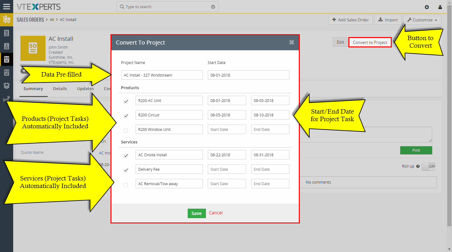 convert quote invoice sales order purchase order to project in vtiger