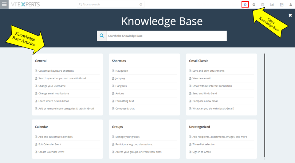 knowledge base extension for VTiger